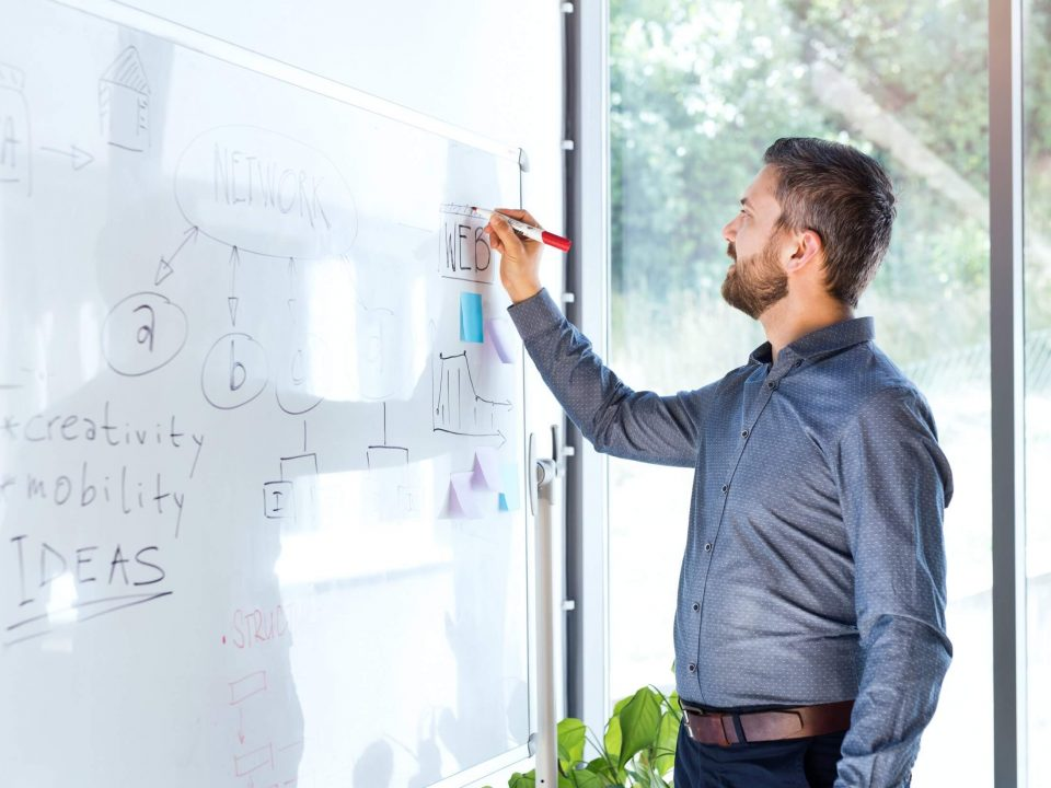 Homem desenhando organograma com metas em whiteboard
